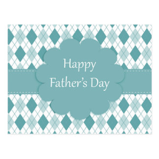 Happy father's day postcard, Green and white plaid Postcard