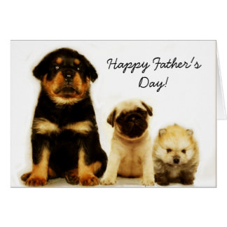 Happy Father's Day puppies greeting card
