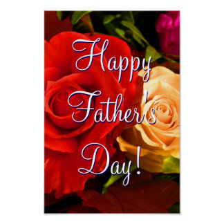 Happy Father's Day Red Yellow Roses Poster