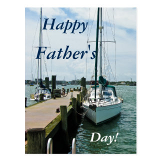 Happy Father's Day Sailboats Docked at Harbor Postcard