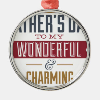 Happy Father's Day Silver-Colored Round Ornament
