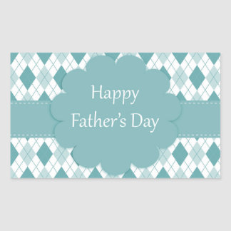 Happy father's day sticker, Green and white plaid