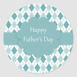 Happy father's day sticker, Green and white plaid Classic Round Sticker