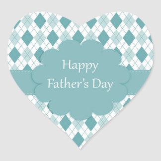 Happy father's day sticker, Green and white plaid Heart Sticker