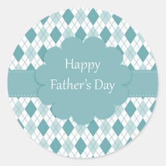 Happy father's day sticker, Green and white plaid Round Sticker
