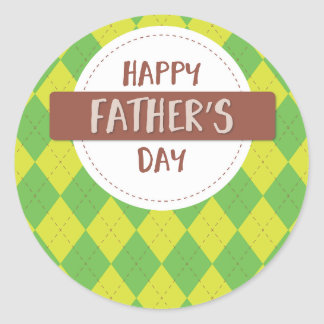 Happy father's day sticker, Green and yellow plaid Classic Round Sticker