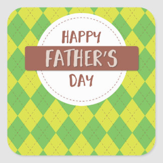 Happy father's day sticker, Green and yellow plaid Square Sticker