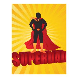 Happy Fathers Day Super Dad Sun Rays Illustration Custom Letterhead