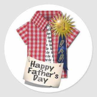 Happy Fathers Day to my #1 Dad Classic Round Sticker