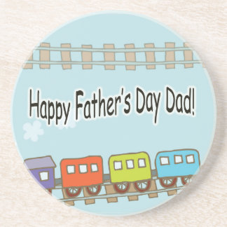 Happy Fathers Day Train Drink Coaster