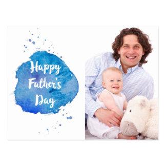 Happy Father's Day|Watercolor Splash Custom Photo Postcard