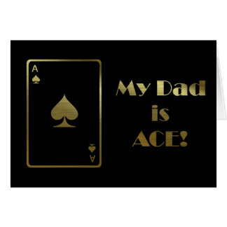 Happy Father's Day with ace card black and gold
