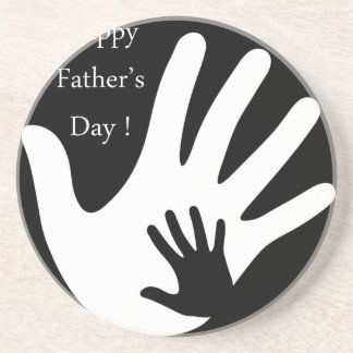 Happy Fathers day with hands of father and child Drink Coaster