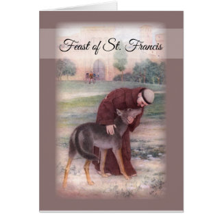 Happy Feast of St. Francis, Peace Prayer Brown Card