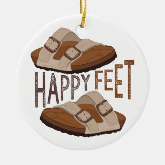 Happy Feet Round Ceramic Ornament