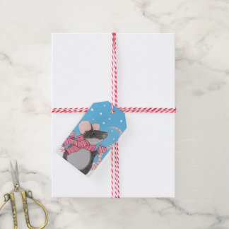 Happy Festive Mouse with Mittens Gift Tags
