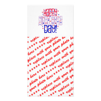 Happy Fireworks Day ! With Red White & Blue Stars Customized Photo Card