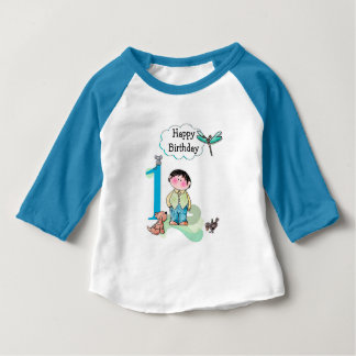 Happy First Birthday, Birthday Boy Jersey Baby T-Shirt