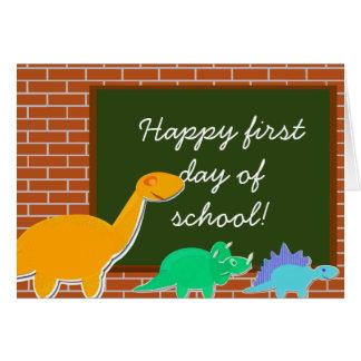 Happy First Day of School Cartoon Dinosaurs Card