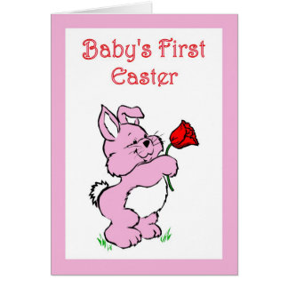 HAPPY FIRST EASTER BUNNY RABBITS PINK GREETING CARD