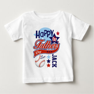 Happy First Fathers Day Baseball Shirt Baby Boy