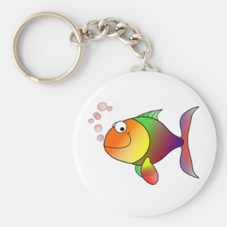 _Happy Fish Basic Round Button Keychain