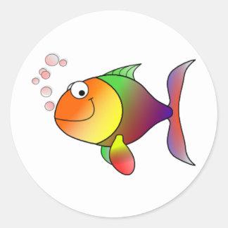 _Happy Fish Classic Round Sticker