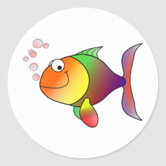 _Happy Fish Round Sticker
