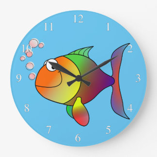 Happy Fish Small Numbers Large Clock