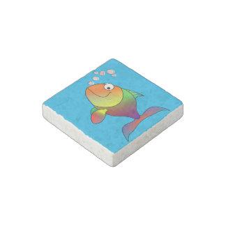 Happy fish stone magnets