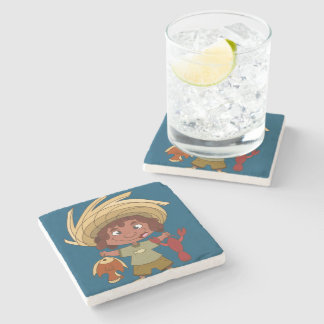 Happy Fisherman Stone Coaster