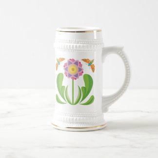 Happy Flower Beer Stein