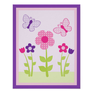 Happy Flower & Butterfly Wall Art Poster/Print