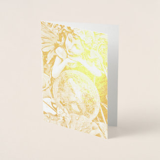 Happy Flower Fairy gold foil greeting card