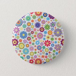 Happy flower power 2 inch round button