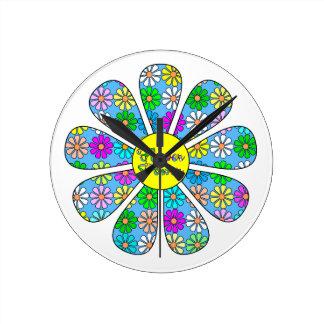 Happy Flower Power Round Clock