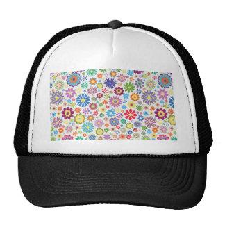 Happy flower power trucker hat