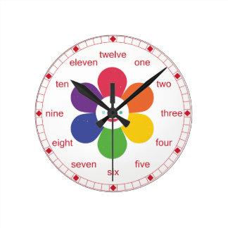 Happy Flower Round Clock
