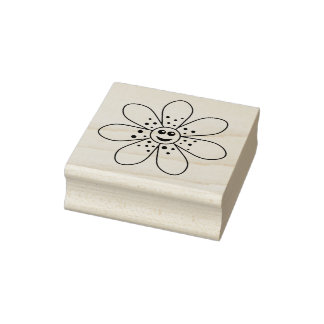 Happy Flower Rubber Stamp