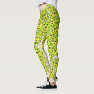 Happy Flowers All Over Pattern Leggings