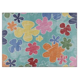 Happy Flowers Glass Cutting Board (15x11)