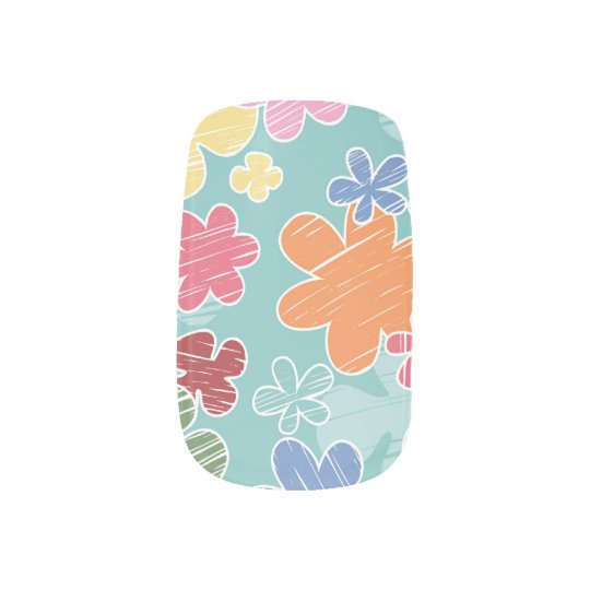 Happy Flowers Minx Nail Art