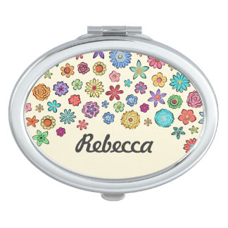 Happy Flowers oval compact mirror