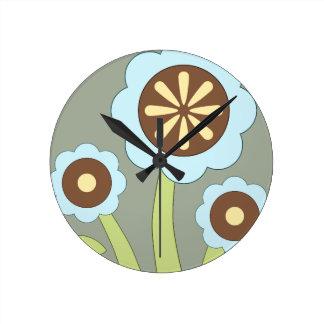 Happy Flowers Round Clock