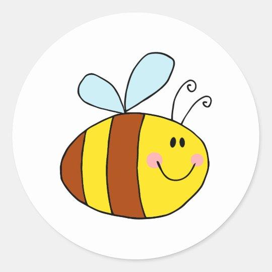 happy flying honeybee honey bee cartoon classic round sticker