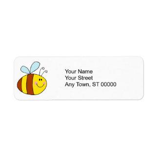 happy flying honeybee honey bee cartoon return address label