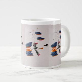 happy flying witch large coffee mug