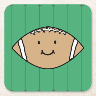 Happy Football Square Paper Coaster