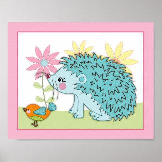 Happy Forest - Hedgehog bird Nursey/Baby Art Print
