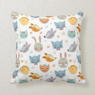 Happy Forrest Animals Pattern Throw Pillow